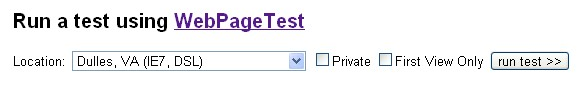Running WebPageTest.org tests directly from details page
